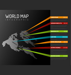 world map infographic template with pointer marks vector image