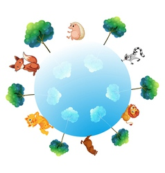 A representation of the earth with animals and vector image vector image