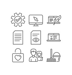 Couple view document and service icons web vector