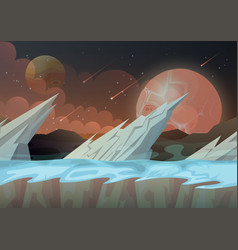 ice rocks on galaxy planet landscape vector image vector image