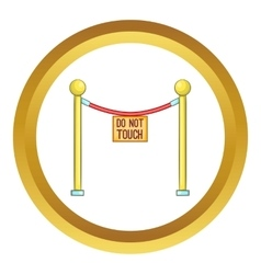 Rope barrier with sign do not touch icon vector