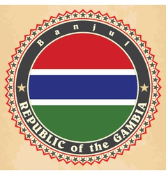 Vintage label cards of Gambia flag vector image