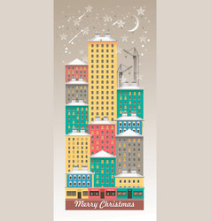 winter night city vector image