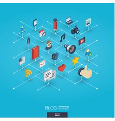 blogging integrated 3d web icons digital network vector image