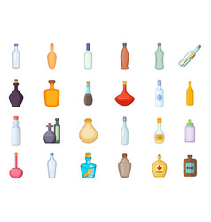 bottle icon set cartoon style vector image vector image