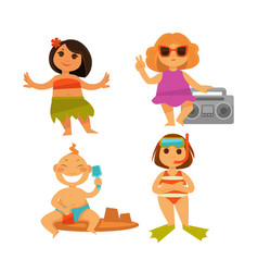 children summer relax icons of kids on vector image vector image