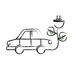 Figure car transportation with power cable and vector