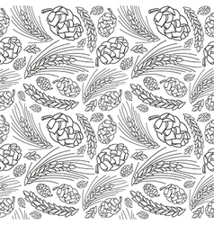 Malt and cone hop seamless pattern vector image vector image