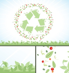 Recycling symbol green flower leaves vector image