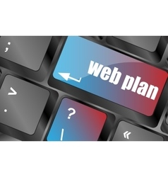 web plan concept with key on computer keyboard vector image