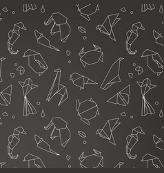 animals origami pattern vector image vector image