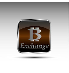 button with bitcoin symbol vector image