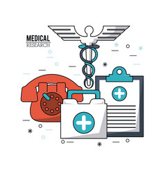 Color poster medical research with caduceus symbol vector