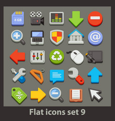 flat icon-set 9 vector image