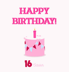 happy birthday typography with a flat birthday vector image