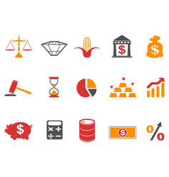 orange color investment icons set vector image vector image