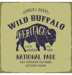 Wild Buffalo typography design vector image