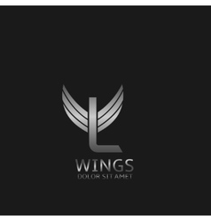 Wings L letter logo vector image vector image