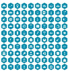 100 restaurant icons sapphirine violet vector image