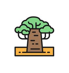 African baobab tree flat color line icon isolated vector
