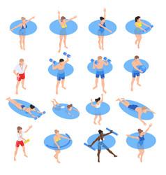Aqua aerobics isometric set vector