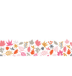 Autumn leaves seamless border scandinavian vector