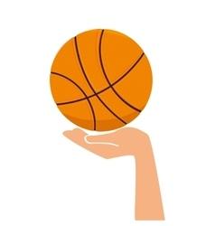 basketball ball hand vector image