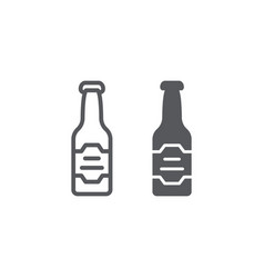 beer bottle line and glyph icon drink and alcohol vector image