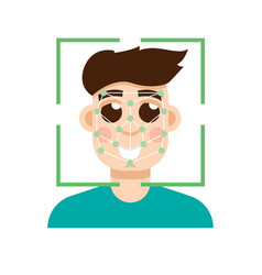 biometric security identification face vector image