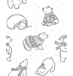 Black and white hand drawn Polar bears seamless vector