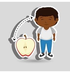 Boy cartoon fruit sliced apple vector
