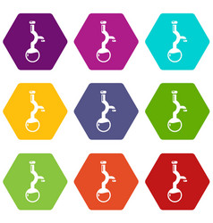 bulb chemistry icons set 9 vector image