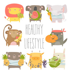 cartoon animals holding fruits and vegetables on vector image