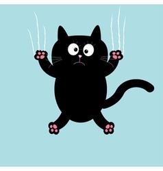 Cartoon black cat claw scratch glass background vector