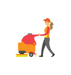 cleaning lady woman service at supermarket vector image