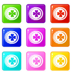 Coin with clover sign icons 9 set vector