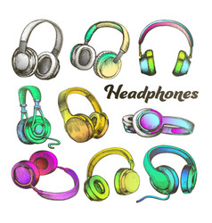 color different sides headphones set vector image