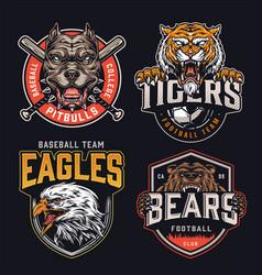 Colorful vintage sports teams logos set vector