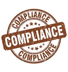Compliance brown grunge round vintage rubber stamp vector