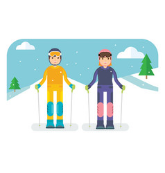 couple ready for skiing vector image