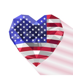 Crystal gem jewelry american heart with the flag vector