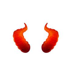 curved red devil horns - halloween sticker vector image