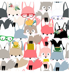 Cute colorful celebrated fox cartoon seamless vector
