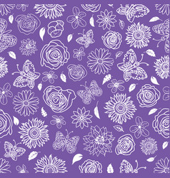 cute hand drawn garden scenery seamless pattern vector image