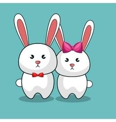 Cute rabbit stuffed icon vector