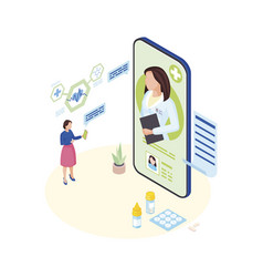 doctor consulting online isometric ill patient vector image
