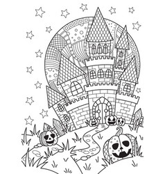 doodle halloween coloring book page spooky castle vector image