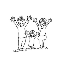 Doodle of happy family outlined cartoon drawing vector