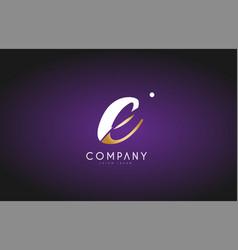 e alphabet letter gold golden logo icon design vector image