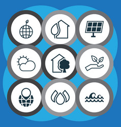 ecology icons set with solar energy protect vector image